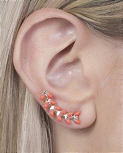 Ear cuff folheado dourado com pedra laranja evi