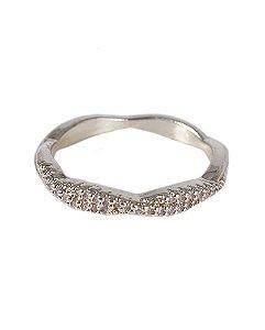 Anel dourado com strass cristal luíza