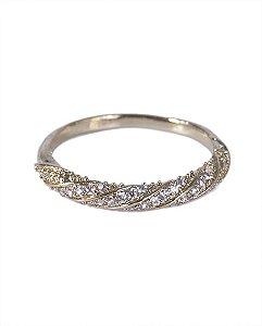 Anel dourado com strass cristal maitê