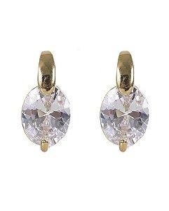 Brinco pequeno dourado com pedra cristal joinville