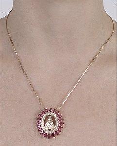 Colar dourado com pedra rosa leila