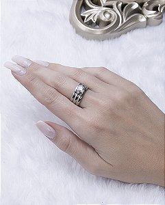 Kit 3 anéis prateado com pedra cristal maju