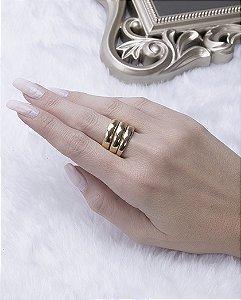 Kit 3 anéis dourado mariele