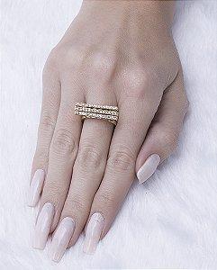 Kit 3 anéis dourado com strass cristal michela