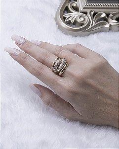 Anel dourado com strass cristal castro