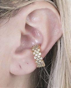 Piercing fake dourado com strass cristal sofia