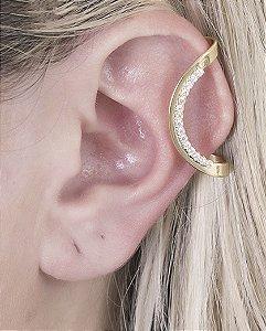 Piercing fake dourado com strass cristal clau