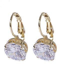 Argola folheada dourada com pedra cristal kath