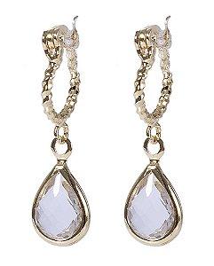 Argola folheada dourada com pedra cristal guadalupe