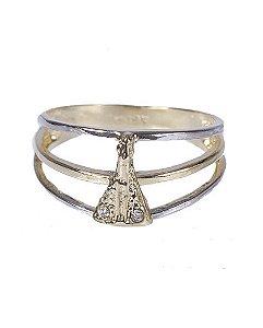 Anel folheado dourado com prata amalia