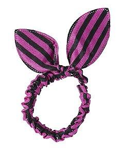 Laço de tecido listrado rosa e preto níka
