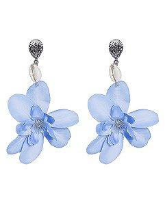 Maxi brinco de metal prateado com flor azul glenn