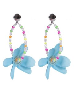 Maxi brinco de metal prateado com flor azul michonne