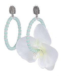 Maxi brinco de metal prateado com flor off white beth