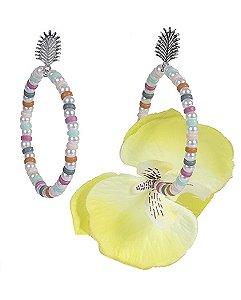 Maxi brinco de metal prateado com flor amarela beth