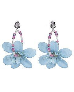 Maxi brinco de metal prateado com flor azul daryl