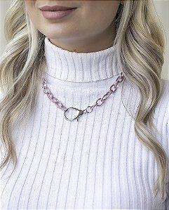 Colar rosa com pingente prata bey