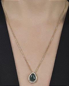 Colar de metal dourado com pedra fusion verde thoys