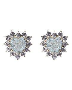 Brinco pequeno de metal dourado com pedra azul e strass cristal mariane
