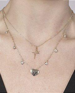Colar de metal dourado com pedras cristal Brunella
