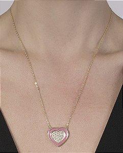 Colar de metal dourado com rosa e strass cristal Ayla