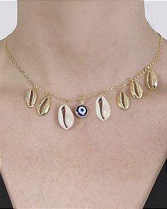 Gargantilha choker de metal dourado com olho grego Forty