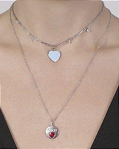 Kit 2 colares de metal prateado com azul Aisha