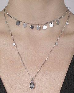 Kit 2 colares de metal prateado com pedra azul Berenice
