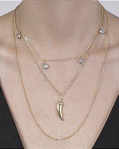 Kit 3 colares dourado com pedra cristal Gomes