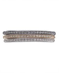 Kit 3 pulseiras grafite, prata e dourado Sandra