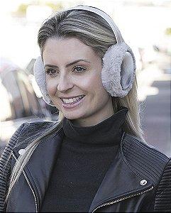 Protetor de orelhas de pelúcia cinza  Enny