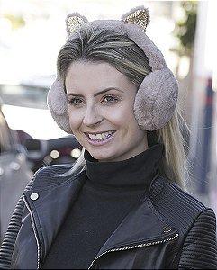 Protetor de orelhas de pelúcia marrom Cat