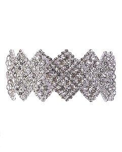 Pulseira de metal prateado com pedra cristal Darla