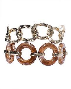 Kit 2 pulseiras de metal dourado com acrílico marrom Vitória