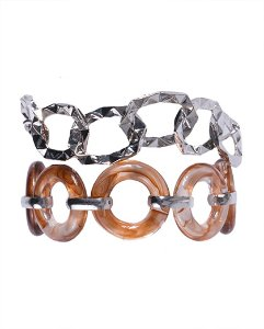 Kit 2 pulseiras de metal prateado com acrílico marrom Vitória