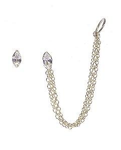 Kit piercing fake dourado com pedra cristal fasken
