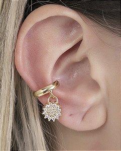 Piercing fake dourado com strass cristal bay