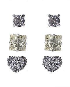 Kit 3 pares de brincos prateado com pedra cristal bella
