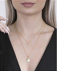 Colar folheado dourado com pedra cristal bruges