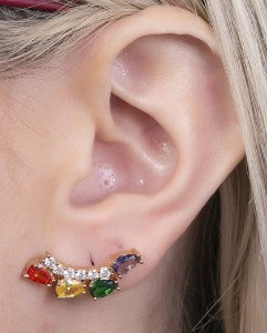 Ear cuff dourada com pedra colorida brunet 2