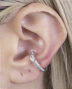 Piercing fake prateado com pedra e strass cristal viena