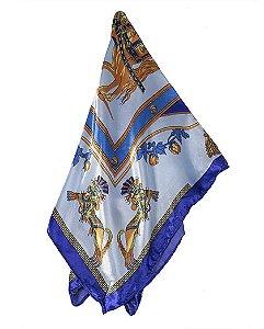 Lenço de cetim azul malik