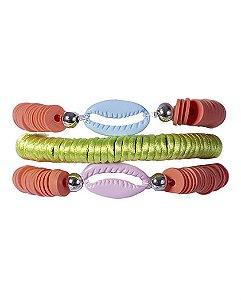 Kit 3 pulseiras laranja e verde may