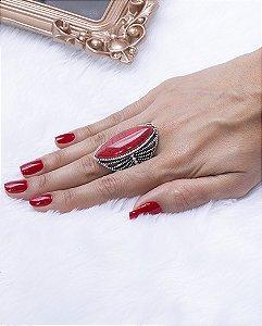 Anel prateado com pedra vermelha zenday