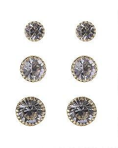 Kit 3 pares de brincos dourado com pedra cristal nayla
