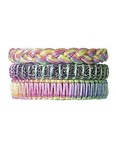 Kit 3 pulseiras coloridas lupin