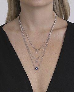 Colar prateado com olho grego e pedra cristal lila