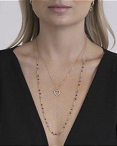 Colar dourado com pedras coloridas e strass cristal dália