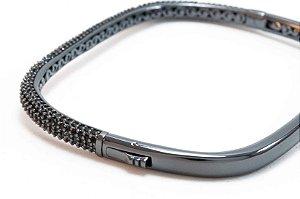 Bracelete Cravejado com Zircônia Negra