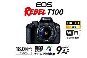 Câmera EOS Rebel T100 com Lente EF-S 18-55mm f/3.5-5.6 III